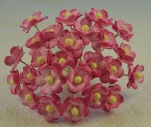 1.3cm CERISE PINK DOUBLE-LAYERED Daisy Mulberry Paper Flowers